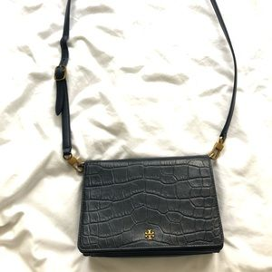 Tory Burch Navy Crocodile Leather Crossbody